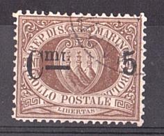 Saint-Marin - 1892 - N° 9a (surcharge Chiffre Gras) - Armoiries - Gebraucht