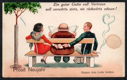 6216 - Litho Humor Scherzkarte - Glückwunschkarte Neujahr - Halt Gegen Das Licht/Durchscheink.