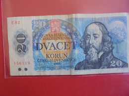 TCHECOSLOVAQUIE 20 KORUN 1988 CIRCULER - Czechoslovakia