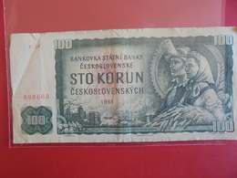 TCHECOSLOVAQUIE 100 KORUN 1961 CIRCULER - Tchécoslovaquie