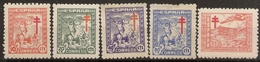 España Edifil 984/988* Mh  Pro Tuberculosos  Serie Completa  1944  NL1509 - 1931-Aujourd'hui: II. République - ....Juan Carlos I