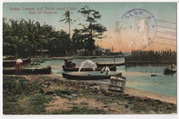 PANAMA COLON Canoes & Turtle Crawl Cachet Paquebot - Panama