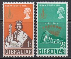 Gibraltar 1968 Human Rights 2v ** Mnh (42767) - Gibraltar