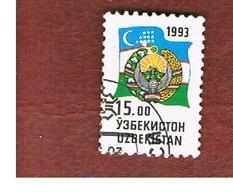 UZBEKISTAN   - SG 32 - 1993 NATIONAL ARMS & FLAG  -   USED - Uzbekistan