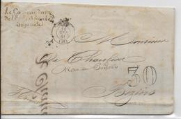 """1861 - LETTRE à BORD Du VAISSEAU """"LE BORDA"""" ECOLE NAVALE IMPERIALE + MARQUE LINEAIRE En RADE De BREST (VOIR INTERIEUR) - Storia Postale"""