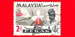 MALESIA - MALAYSIA - Usato - PERAK - 1965 - Fiori - Orchidee - Arundina Graminifolia - Sultano - 2 - Malesia (1964-...)