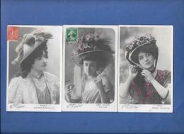 FEMMES. Les REINES De La MODE Avec Grands Chapeaux. MERELLI, ROLLY, JANE SCHERER - LOT 3 CPA - Femmes