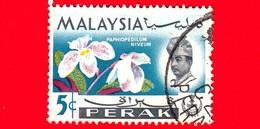 MALESIA - MALAYSIA - Usato - PERAK - 1965 - Fiori - Orchidee - Paphiopedilum Niveum - Sultano - 5 - Malesia (1964-...)