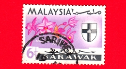 MALESIA - MALAYSIA - Usato - SARAVAK - 1965 - Fiori - Orchidee - Spathoglottis Plicata - Stemmi Araldici - 6 - Malaysia (1964-...)