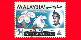 MALESIA - MALAYSIA - Usato - SELANGOR - 1965 - Fiori - Orchidee - Paphiopedilum Niveum - Sultano - 5 - Malesia (1964-...)