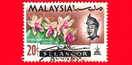 MALESIA - MALAYSIA - Usato - SELANGOR - 1965 - Fiori - Orchidee - Phalaenopsis Violacea - Sultano - 20 - Malaysia (1964-...)