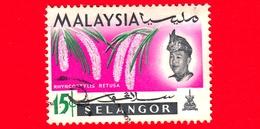 MALESIA - MALAYSIA - Usato - SELANGOR - 1965 - Fiori - Orchidee - Rhynchostylis Retusa - Sultano - 15 - Malesia (1964-...)