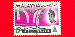 MALESIA - MALAYSIA - Usato - SELANGOR - 1965 - Fiori - Orchidee - Rhynchostylis Retusa - Sultano - 15 - Malaysia (1964-...)
