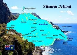 Pitcairn Island Map New Postcard Pitcairninsel Landkarte AK - Pitcairn Islands