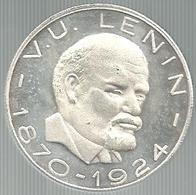 Comunismo, Storia, Unione Sovietica, V.U. Lenin 1870-1924, Mistura Argentata 16 Gr. Cm. 3,5. - Gettoni E Medaglie
