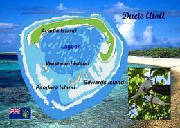Pitcairn Ducie Atoll Map New Postcard Pitcairninseln AK - Pitcairn