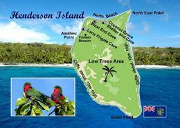 Pitcairn Henderson Island Map UNESCO New Postcard Pitcairninseln AK - Pitcairneilanden