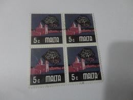FRANCOBOLLI IN QUARTINA 5 C  USATI - Malta