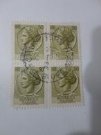 FRANCOBOLLI IN QUARTINA 50 LIRE -1977 - 6. 1946-.. Repubblica