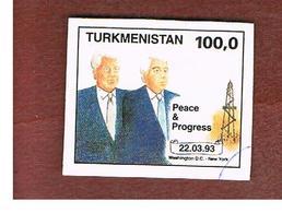TURKMENISTAN  - SG 23 -   1993 CLINTON & NIYAZOV  DATE 22.3.1993   -   USED - Turkmenistan