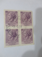FRANCOBOLLI IN QUARTINA 25 LIRE - 6. 1946-.. Repubblica