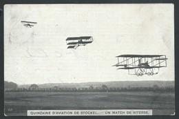 """+++ CPA - Quinzaine D' Aviation De STOCKEL - Avion - Aviateur - """"Un Match De Vitesse """" // - St-Pieters-Woluwe - Woluwe-St-Pierre"""