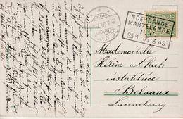 """LUXEMBURG : BAHNPOST-AMBULANT PK PZ (Lux)  """"NOERDANGE - / MARTELANGE / F. C. / 25.8.09"""" - Autres"""