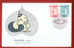 Thailande - N°401/ 402  - Série Complète Journée De L'enfance -  FDC De 1963 - Avec La Carte D'origine à L'interieur. - Thaïlande