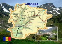 Andorra Country Map  New Postcard Landkarte AK - Andorra