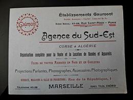 CARTE VISITE ANCIENNE GAUMONT PHONOGRAPHE PROJECTION PARLANTE AGENCE SUD EST CORSE ALGERIE FILM ACCESSOIRE PHOTO - Visiting Cards