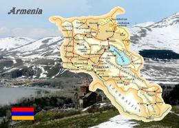 Armenia Country Map New Postcard Armenien Landkarte AK - Armenia