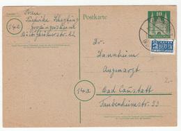Germany Postal Stationery Postcard Postkarte Travelled 1949 Grossingersheim - Berlin Notopfer Stamp B190510 - Lettres & Documents