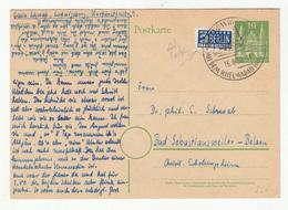 Germany Postal Stationery Postcard Postkarte Travelled 1950 Special Pmk - Berlin Notopfer Stamp B190510 - Lettres & Documents