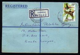 Malaysia Registered Cover From Sandakan To Kuala Lumpur 1971 - Malaysia (1964-...)