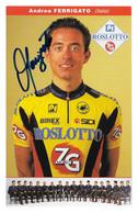 CARTE CYCLISME ANDREA FERRIGATO SIGNEE TEAM ROSLOTTO - ZG 1996 - Ciclismo