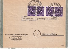 ALLEMAGNE ZONE AAS 1946  LETTRE DE SAALFELD - Zone AAS