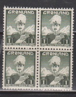 GREENLAND Scott # 1 Block 2MNH & 2 MH - King Christian X - Ungebraucht