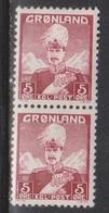 GREENLAND Scott # 2 Pair 1MNH & 1MH - King Christian X - Neufs