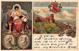 HEIDELBERG GERMANY CARL FRIEDRICH-GROSSH FRIEDRICH 1803-1903-HERALDRY EMBOSSED-EDM Von KONIG POSTCARD 40659 - Heidelberg