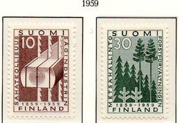 PIA - FINLANDIA  - 1959 : Centenario Della Prima Segheria A Vapore E Dell' Ammin. Forestale Finlandese - (Yv 483-84) - Nuovi