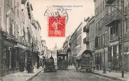 51 Chalons Sur Marne Rue De Marne Cpa Carte Animée Animation Boutique Tram Tramway Cachet 1907 - Châlons-sur-Marne