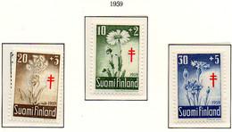 PIA - FINLANDIA  - 1959 : Pro Tubercolotici - Fiori - (Yv 486-88) - Malattie