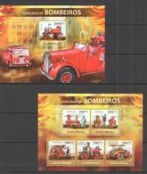 VV763 2013 GUINE GUINEA-BISSAU TRANSPORT FIRE TRUCKS VIATURAS DE BOMBERIOS KB+BL MNH - Camions