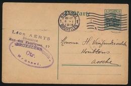 1916 BRASSEUR LEON AERTS BRUX     DUITSCHE CONTROLESTEMPEL NAAR ASSE   2 SCANS - Asse