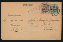 1916 BRASSEUR CAMILLE HUART LE ROEULX     DUITSCHE CONTROLESTEMPEL NAAR ASSE   2 SCANS - Asse