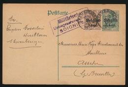 1917  L.GOSSELIN  STAMBRUGES      DUITSCHE CONTROLESTEMPEL NAAR ASSE   2 SCANS - Asse