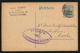 1915  LOUIS KINART BRUX       DUITSCHE CONTROLESTEMPEL NAAR ASSE   2 SCANS - Asse