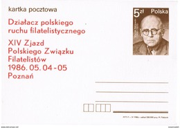 PLS23018 Poland 1986 Stationery Postcard Marian Niklewski, Establish Polish Philatelic Movement / Unused - Ganzsachen