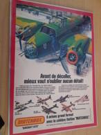 DIV415 : Clipping PAGE DE REVUE TINTIN ANNEES 60/70 EN COULEURS : PUBLICITE POUR LES MAQUETTES MATCHBOX - Avions