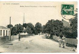 1254. CPA 33 ARES. CARTE ENTIEREMENT DEDOUBLEE. RUE D'ANDRENOS LES BAINS - Arès